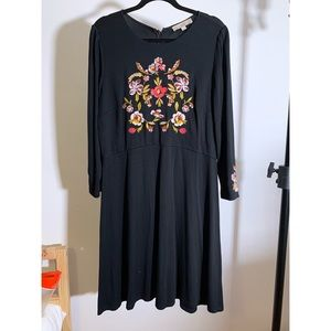 Beautiful Loft Embroidered Floral Dress Size 14
